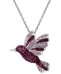 Kaleidoscope Sterling Silver Necklace Purple Swarovski Crystal Hummingbird Pendant 9 10 Ct. T.W.