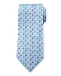 Sailboats Silk Tie Light Blue Men's Davidoff