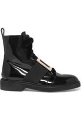 Roger Vivier Ranger Embellished Velvet Trimmed Patent Leather Ankle Boots Black