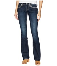 Miss Me Mid Rise Boot With Thick Border Stitch In Dark Blue Dark Blue Jeans