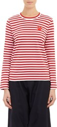 Comme Des Garcons Comme Des Garcons Play Women's Stripe Long Sleeve T Shirt Red