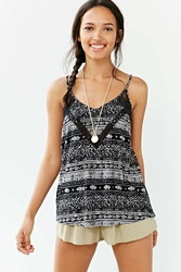 Staring At Stars Printed Lace Insert Tank Top Black