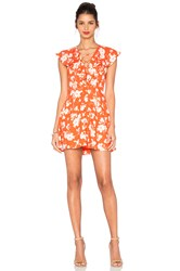J.O.A. Sleeveless Lace Up Floral Dress Orange