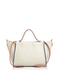 Elena Ghisellini Usonia Medium Leather Satchel Osso White Silver
