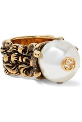 Gucci Burnished Gold Tone Faux Pearl Ring