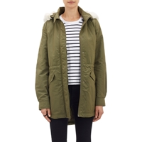Barneys New York Tech Canvas Hooded Anorak Olive