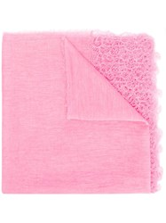 Ermanno Scervino Lace Embroidered Scarf Pink