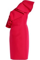 Halston One Shoulder Ruffled Cotton And Silk Blend Dress Tomato Red