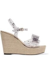 Red Valentino Redvalentino Bow Embellished Printed Pvc And Canvas Wedge Sandals Clear