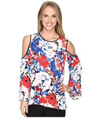 Vince Camuto Bell Sleeve Nautical Bloom Cold Shoulder Blouse Antique White Women's Clothing
