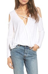 Michelle By Comune Women's Anchor Cold Shoulder Surplice Tee White