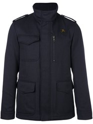Fay High Neck Zipped Jacket Blue
