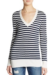 Splendid Striped V Neck Sweater Navy Cream