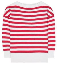 Dolce And Gabbana Striped Silk Sweater Red
