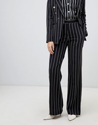 Amy Lynn Striped Wide Leg Trouser Black White No.7 Multi