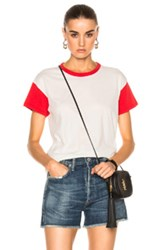 Rag And Bone Jean Colorblocked Vintage Tee In Red White Red White
