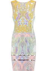 Emilio Pucci Cutout Printed Crepe Dress Yellow