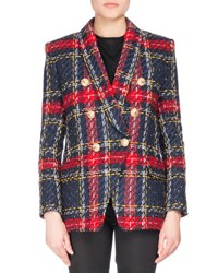 Balmain Double Breasted Plaid Tweed Jacket Red Pattern