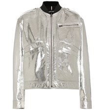 Tom Ford Metallic Leather Jacket Silver