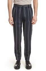 Tomorrowland Stripe Wool And Linen Pants Blue