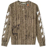 Off White Real Camo Slim Crew Sweat Brown