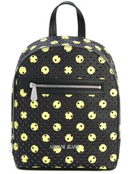 Armani Jeans Perforated Circle Print Backpack Women Polyurethane One Size Black