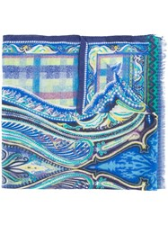 Etro Abstract Print Scarf Blue