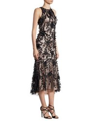 Theia Petal Beaded Hi Lo Dress Pomegranite Black Pink