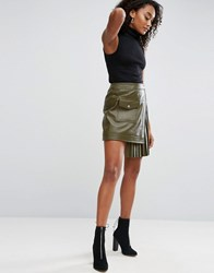 Asos Leather Skirt With Pleated Sides Khaki Green