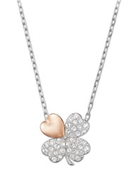 Swarovski Better Crystal And Two Tone Clover Pendant Necklace Silver Rose Gold
