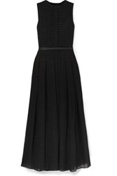 Akris Belted Metallic Checked Wool Blend Mousseline Gown Black