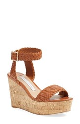 Women's Diane Von Furstenberg 'Monclair' Platform Wedge Sandal British Tan Leather