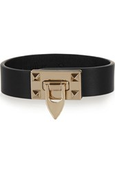 Valentino Metal Glam Leather And Gold Tone Bracelet Black