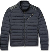 Moncler Geant Leather Trimmed Quilted Stretch Shell Down Jacket Midnight Blue