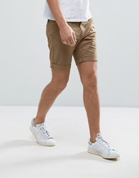 Selected Homme Slim Fit Chino Shorts With Stretch Camel Beige