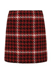 Hallhuber Mini Skirt With Houndstooth Pattern Multi Coloured Multi Coloured