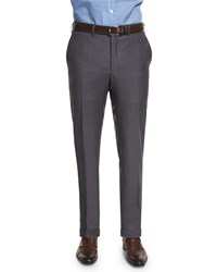 Kiton Flat Front Twill Trousers Charcoal Grey Men's