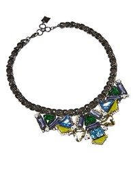Bcbgmaxazria Geometric Stone Necklace Ink Blue Combo