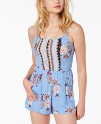 As U Wish Juniors' Printed Romper Sky Coral