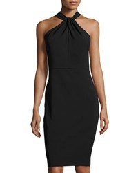 Taylor Twist Neck Crepe Halter Dress Black