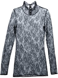 Lanvin Floral Lace Turtle Neck Black
