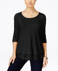 Styleandco. Style And Co. Petite Chiffon Hem Three Quarter Sleeve Top Only At Macy's Deep Black