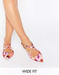 Asos Live For The Moment Wide Fit Ballet Flats Floral Multi
