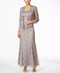 R And M Richards Godet Lace Evening Gown And Jacket Mocha