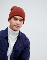 New Look Ribbed Beanie In Rust Red