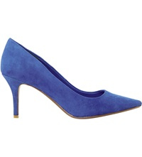 Dune Alina Pointed Toe Mid Heel Courts Blue Suede