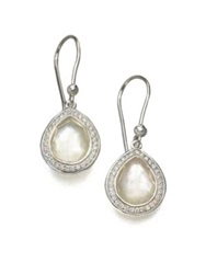 Ippolita Stella Mother Of Pearl Clear Quartz Diamond And Sterling Silver Doublet Teardrop Earrings Silver Pearl