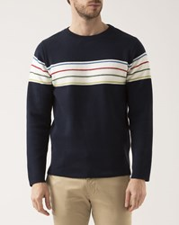 Knowledge Cotton Apparel Navy Blue Striped Crew Neck Pullover