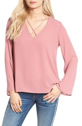 Lush Women's Cross Front Blouse Blush