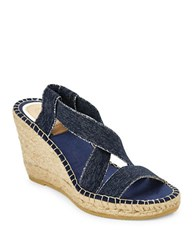 Vidorreta Max Cross Strap Espadrilles Platform Wedge Sandals Blue